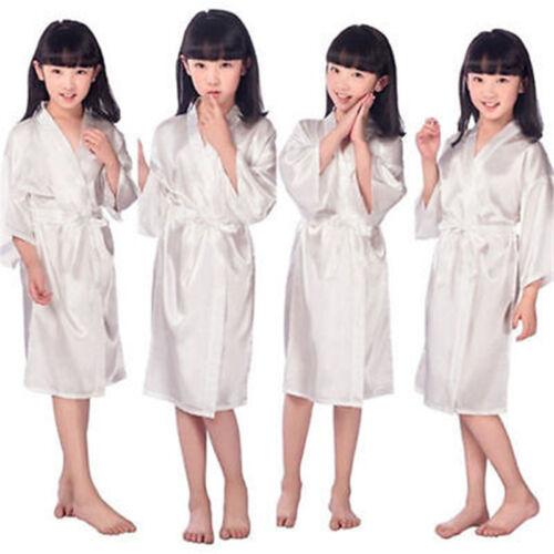 2019Kid Silk Satin Kimono Robes Bathrobe Sleepwear Flower Girl Night Dress L2 UK