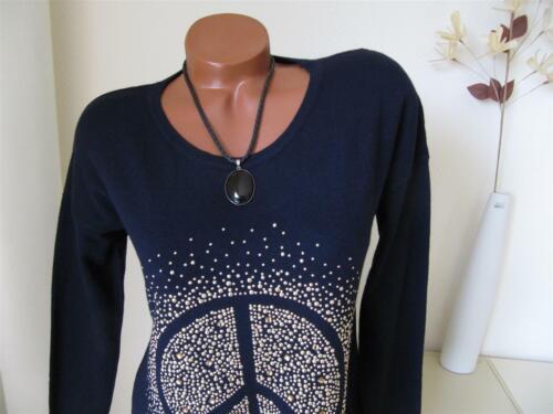 Zipfel Strick Tunika Pullover Peace Nieten Strass A-Form