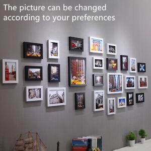 26pcs Photo Frame Set Picture Display Wall Hanging Modern Home Decor Black White