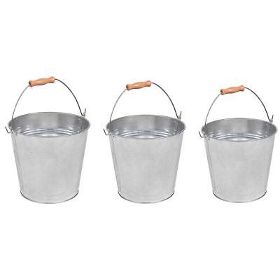 Galvanised Bucket 9 10 12 Litre Capacity Metal Wooden Handle Strong Modern Large