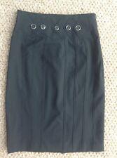 Karen Millen Black Smart Pencil Skirt Size 12 With Black/silver Buttons Detail