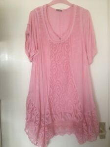 Size14-2-Piece-Jumpers-Tops-Pink-Cap-Sleeved-Scarf-Soft-Laced-front-bottom-long