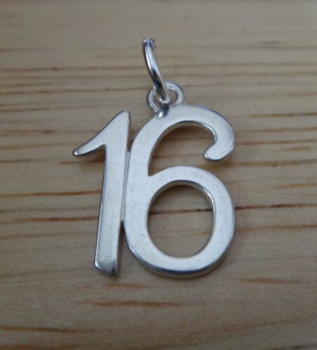 Sterling Silver 15x11mm Whimsical numéro 16 16th Anniversaire Charm