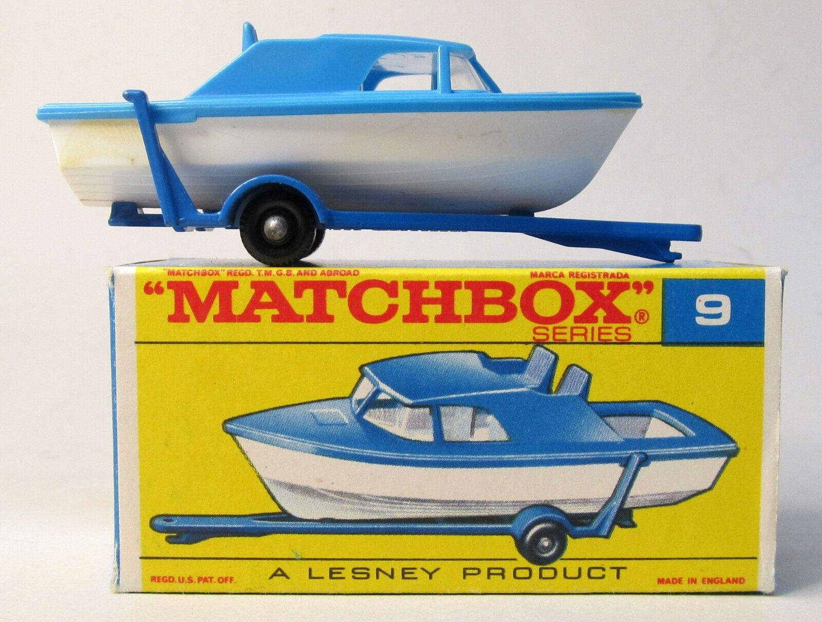 Matchbox  9 BOAT AND TRAILER Near Mint in TYPE F box blu & bianca