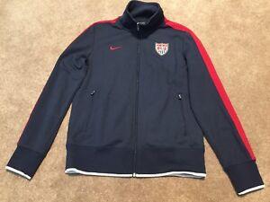 132603cdb Mens Nike Red White Blue USA Soccer Track Full Zip Jacket Coat Size ...