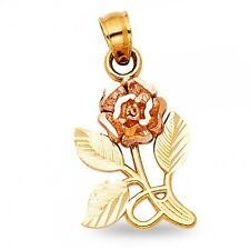 Rose Charm Solid 14k Yellow Rose Gold Flower Pendant Diamond Cut Fancy Two Tone