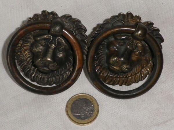 2 Anciennes Poignees Anneaux De Tiroir De Meuble En Bronze Tete De Lion