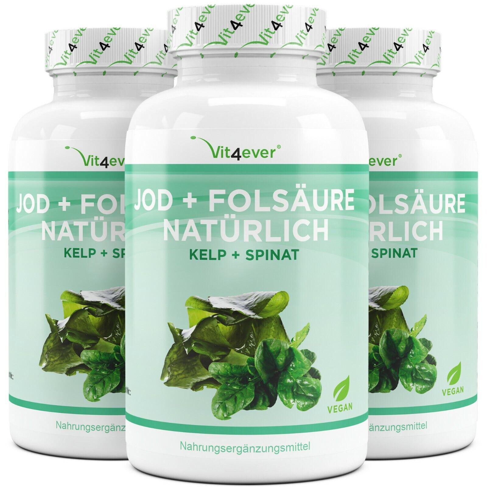 3x yodo + ácido fólico, por supuesto, = 540 cápsulas (Vegan) - kelp-alga + espinaca-extracto