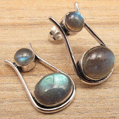 Natural LABRADORITE Gems Design A Jewelry Stud Earrings ! 925 Silver Plated
