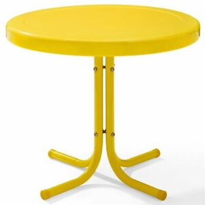 Crosley Furniture Retro Metal Patio End Table In Yellow Ebay