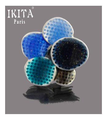 Xl Ring Ikita Paris Fingerringe Damenring Metall Emaille Breiter Blau/silber
