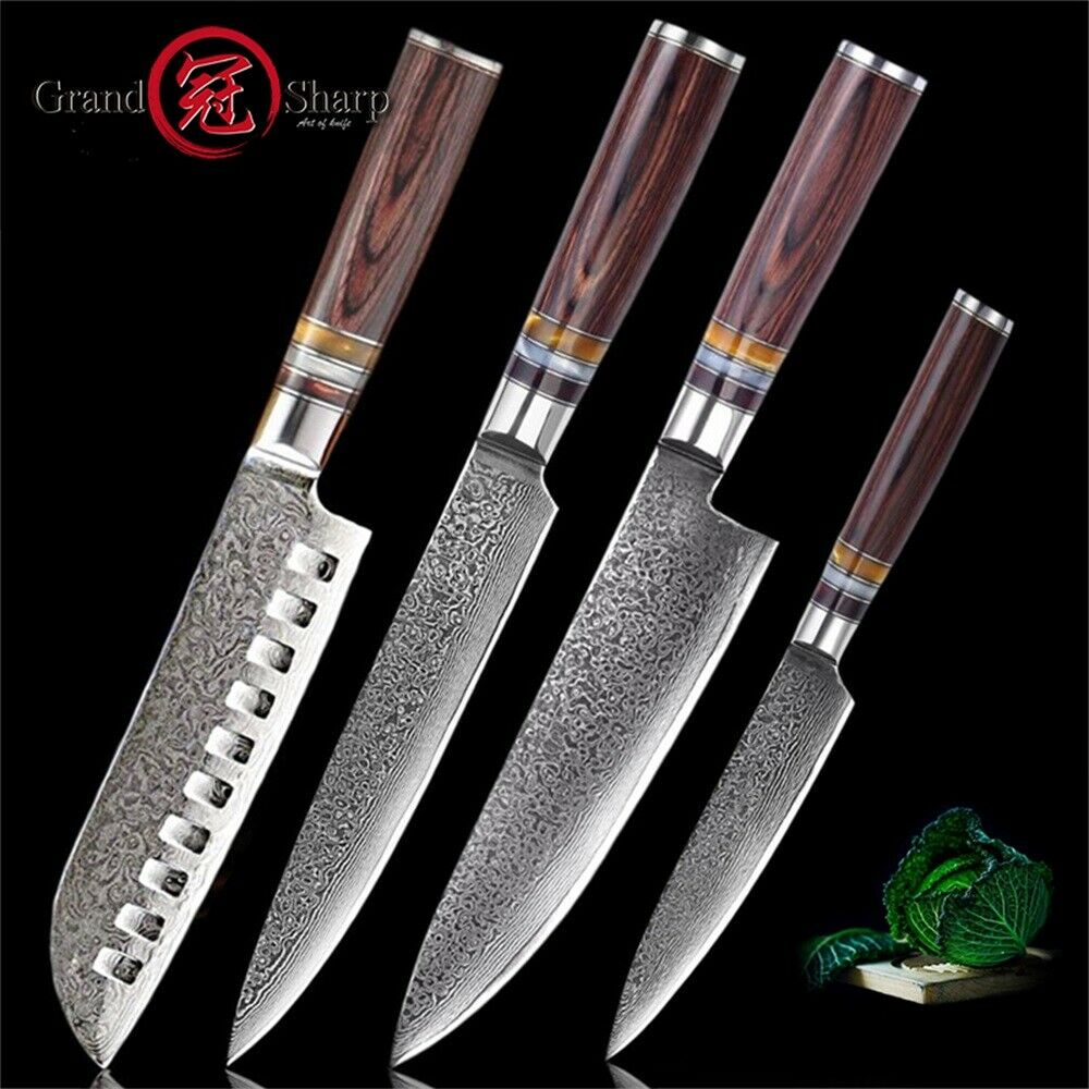 Damascus Kitchen Knife Set 4 Pcs Japanese Damascus Steel Kitchen Knives Chef New