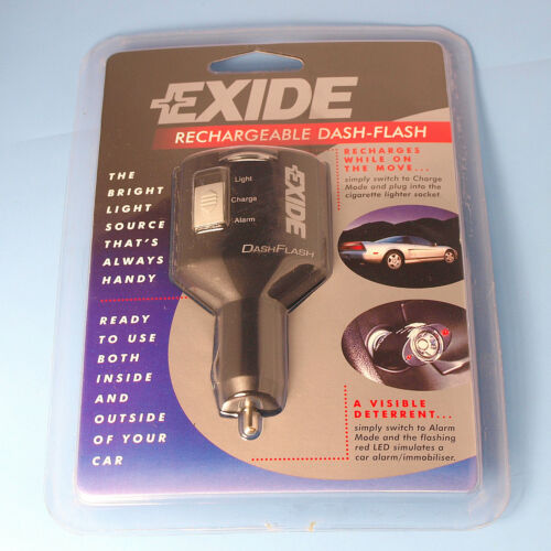 High Quality Exide Rechargeable Dash Flash Car Light /& Alarm Mode C//W LED Lights