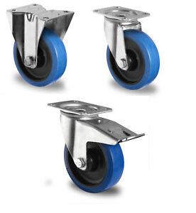 Blue-Wheels-Transportrollen-80-100-125-160-200-Lenkrollen-Rollen-mit-Platte