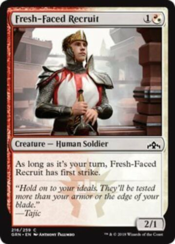 English, Playset, Guilds of Ravnica, Free P/&P MTG 4x Fresh-Faced Recruit