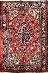 Traditional-Hand-Knotted-Floral-Bidjar-Area-Rug-RED-NAVY-Oriental-Carpet-4-039-x5-039