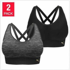 aa2b59be7d2df PUMA Seamless Women s Strappy Back Athletic Active Sports Bra 2pack Size  Large