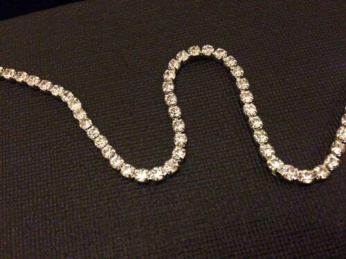 Rhinestone Chain Close Crystal Glass Gem Silver Cup Trim Ribbon Sparkle Diamante