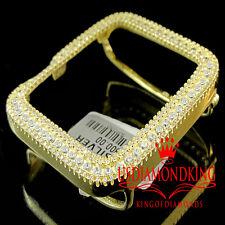 Real Yellow Gold Sterling Silver Lab Diamond Apple Watch Case 42MM Sport Bezel
