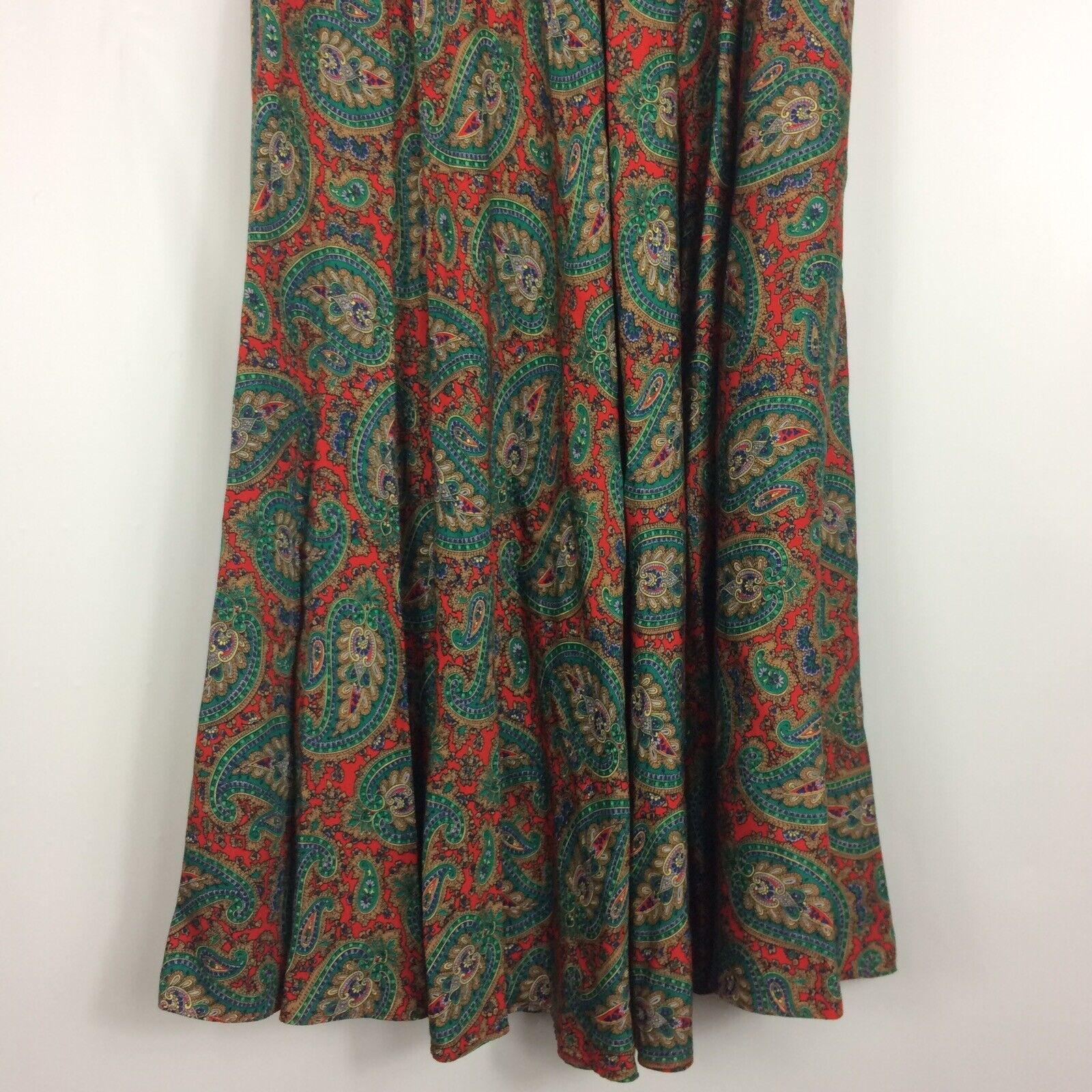 Ralph Lauren Maxi Skirt Red Green Paisley Print R… - image 9