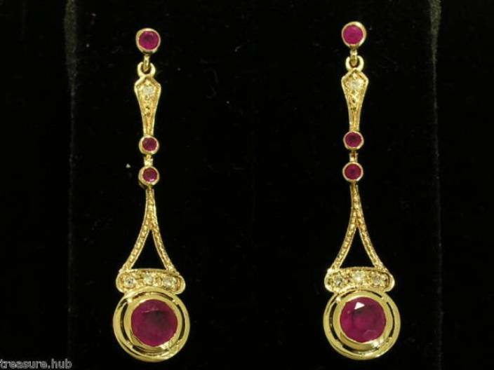 E134 Exquisite Genuine 9K 9ct SOLID gold NATURAL Ruby & Diamond Drop Earrings