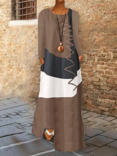 Womens Plus Size Loose Casual Long Sleeve Dress Boho Retro Print Long Maxi Dress