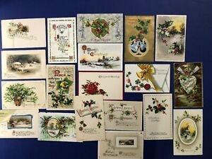 19-Antique-Vintage-Christmas-Postcards-Winsch-Style-Early-1900-039-s-Collector-Items