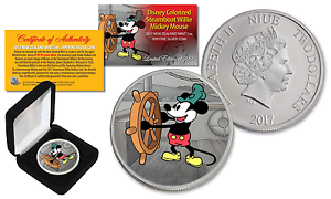 2017 NZM Nieu 1 oz PURE SILVER BU Mickey Mouse Disney Steamboat Willie Coin LTD