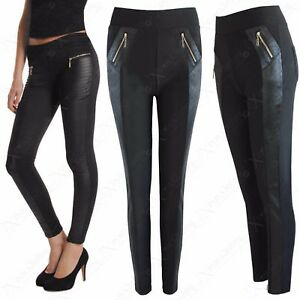42e58d9e2bfb2 LADIES ZIP BLACK QUILTED LOOK SIDES LEGGINGS WOMENS JEGGINGS SKINNY ...