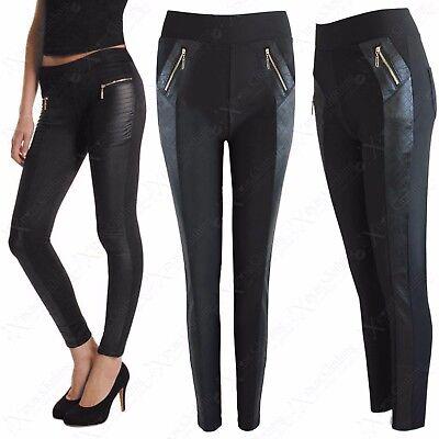 Liberal Ladies Zip Black Quilted Look Sides Leggings Womens Jeggings Skinny High Waisted
