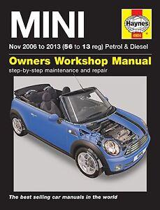 haynes owners workshop manual mini cooper s petrol diesel 06 13 rh ebay ie 2008 mini cooper s repair manual 2008 mini cooper s repair manual
