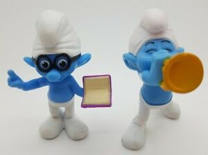 Collectables-X2-Mcdonalds-Happy-Meal-Brainy-Harmony-Smurfs-2013-Figures-Toys