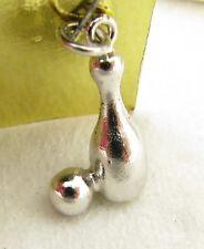 Vintage Sterling Silver 3D Bowling Ball & Pin Bowler Bracelet Charm