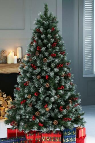 Luxury Pre Lit Frosted Christmas Tree Warm White Led Lights Berries &Amp; Cones by Ebay Seller