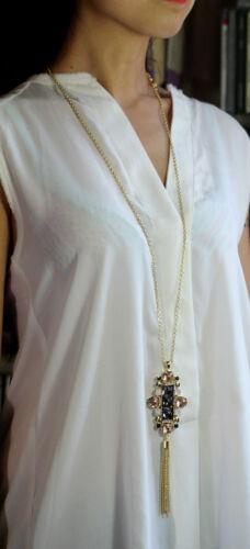 Lange Halskette Steuer Golden Bommel Kristall Grau Rosa Retro Ddz 1