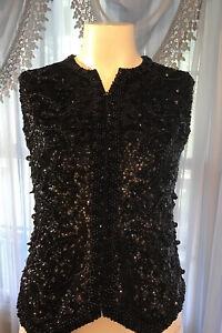 Vintage Valentina  Beaded Sequin Vest Top Medium Embellished