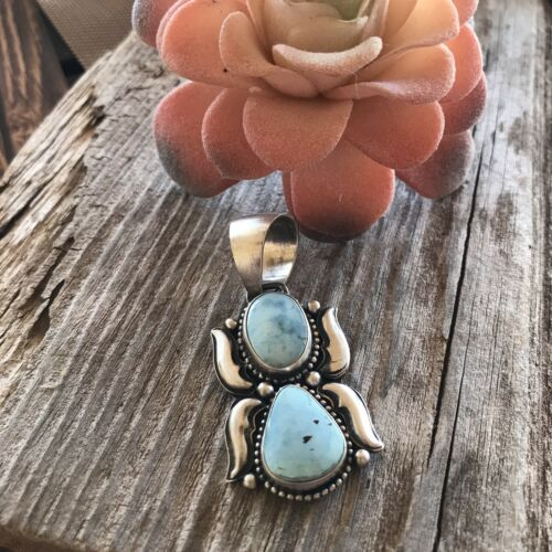 Details about  /B Johnson Golden Hills Turquoise /& Sterling Silver Pendant Signed
