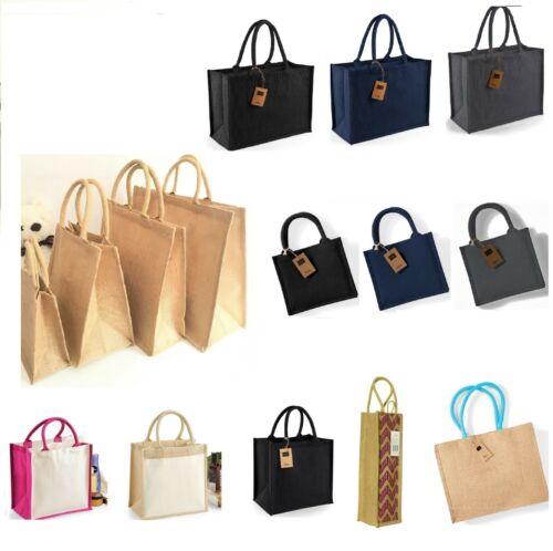 Plain or Color Jute Hessian Bag Small Medium Large Westford Shopping Wholesale