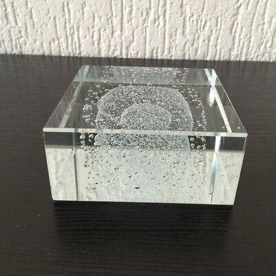 Qualifiziert Paperweight, Briefbeschwerer, Glas Block 10 X 10 X 4,5 Cm