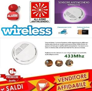 SENSORE-ANTINCENDIO-WIRELESS-RILEVATORE-FUMO-ALLARME-STAND-ALONE-433MHZ-2019-NEW