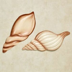 Image Is Loading Seashell Metal Wall Art Sea Shells Brown Ivory