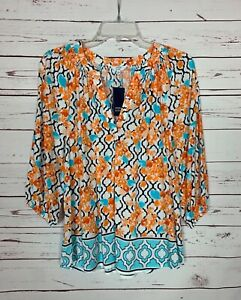 Crown & Ivy Women's S Small Orange Floral 3/4 Sleeves Spring Top Blouse NEW TAGS