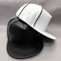 Snapback Baseball Plain Cap Funky Hip Hop Leather Retro Classic Vintage Flat Hat