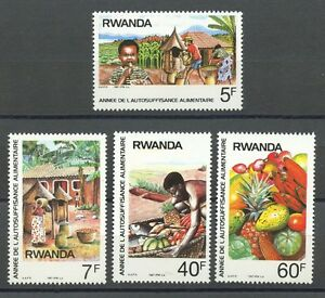 Food Production mnh set of 4 stamps 1987 Rwanda #1278-81 corn melon pineapple