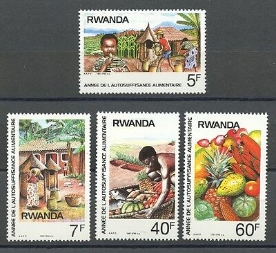 Briefmarken Food Produktion Mnh 4er Set Briefmarken 1987 Ruanda #1278-81 Mais Melone Ananas