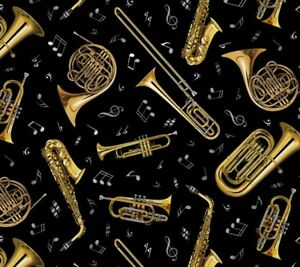 Live-Jazz-Wind-Instruments-Elizabeth-039-s-Studio-100-cotton-fabric-by-the-yard
