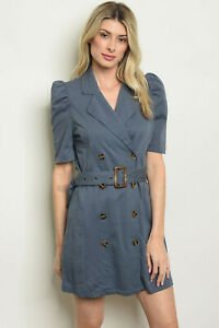 Slate blue double-breasted mini-dress with ruffled puff sleeve by Kate C.