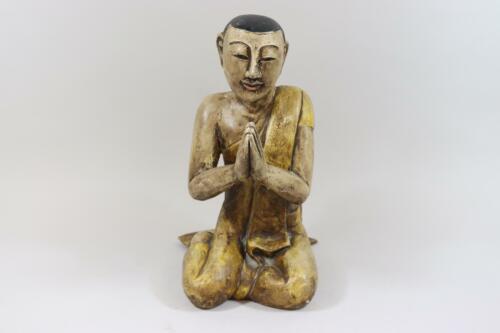 RK593 Betender asiatischer Mönch geschnitzte gefasste Holzfigur
