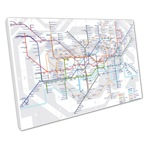 THE UNDERGROUND London MAP tube lines Stations Ready to Hang Canvas X1001