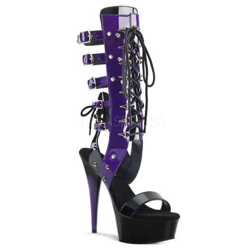 "Delight 600-38 Multi Strap Gladiator Knee Boot 6/"" High Heel Shoe Black Purple"